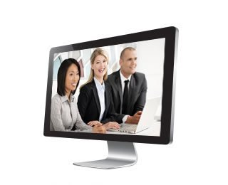 monitor showing webcasting tool