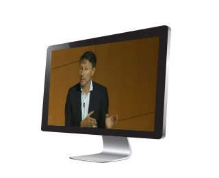 monitor showing webcast of corporate presentation